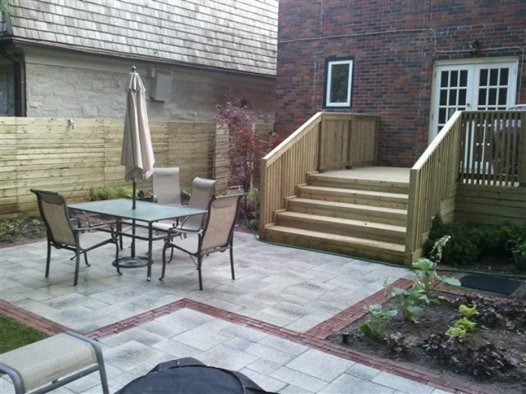 Backyard Deck Designs Pictures: Re Design Of Back Yard Deck Interlocking Patio And Planting
